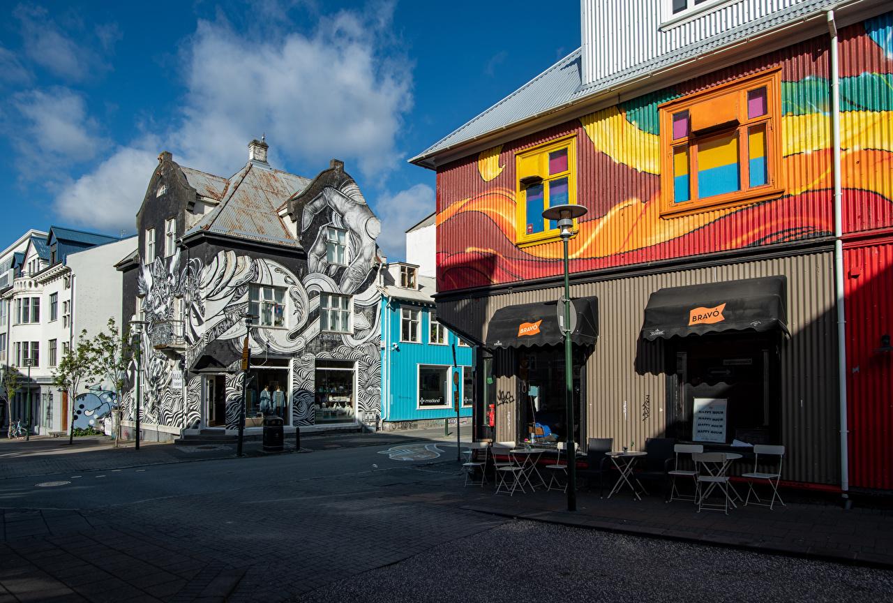 Фотография Исландия Reykjavik улиц Граффити Уличные фонари Дома город улице Улица Здания Города