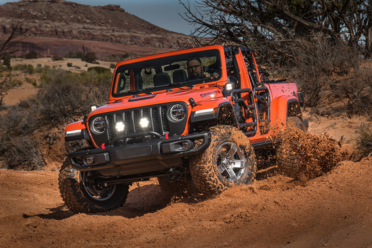 Картинка Джип SUV 2019 Gladiator Gravity Пикап кузов красные Автомобили Jeep Внедорожник красная Красный красных авто машины машина автомобиль