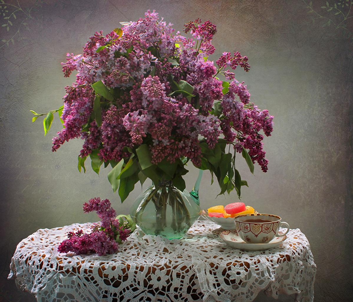 Картинки Букеты Мармелад цветок Сирень Ваза Чашка Натюрморт букет Цветы вазе вазы чашке