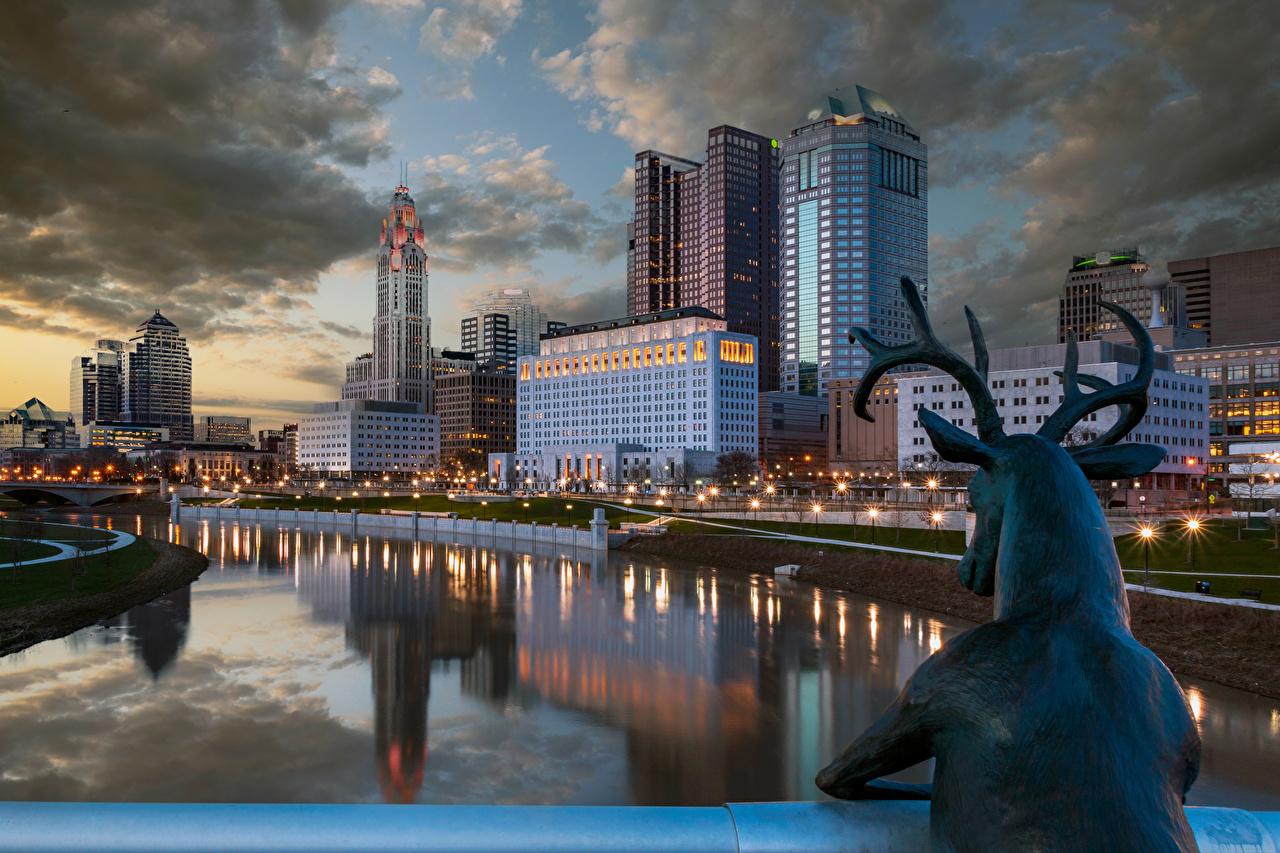 Фотографии Олени США Columbus Ohio река Ночные Уличные фонари Дома город Скульптуры штаты америка Ночь Реки речка ночью в ночи Здания Города скульптура