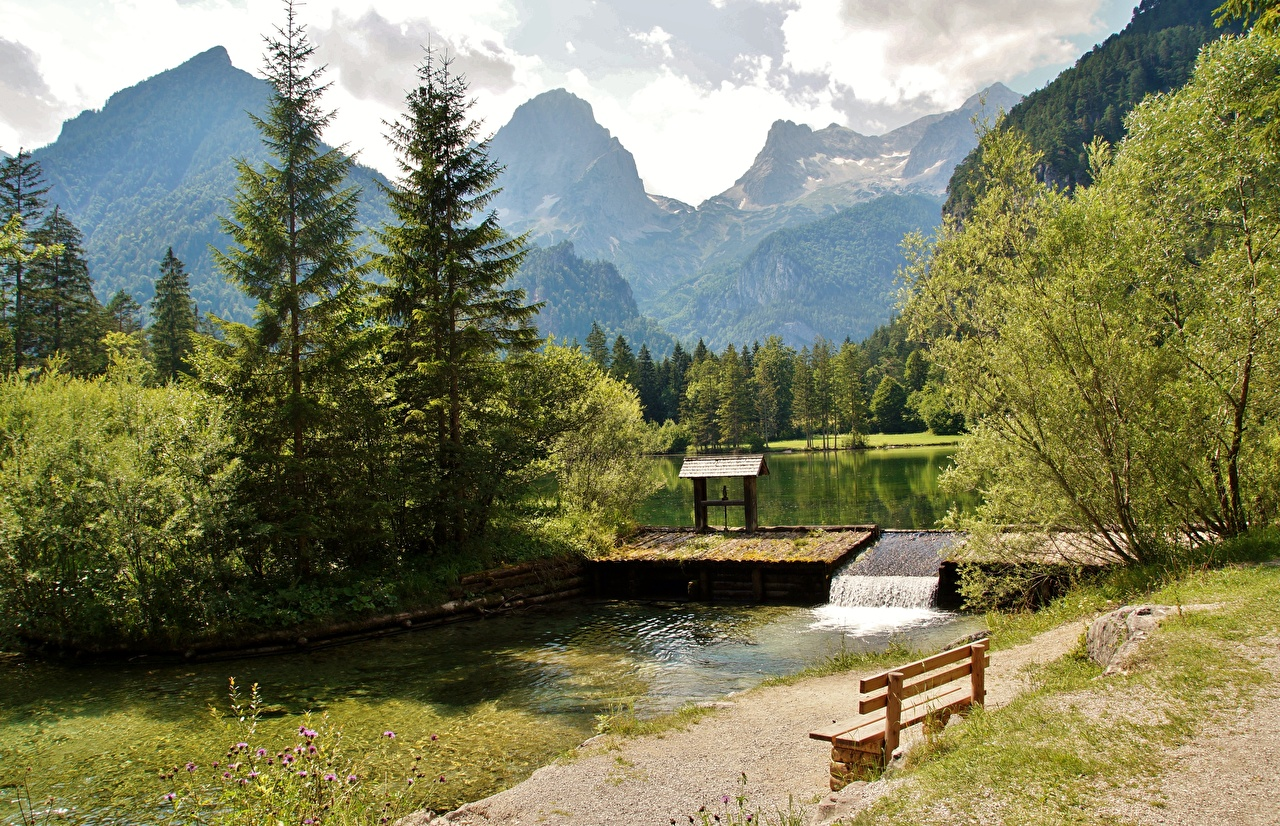 Картинки альп Австрия Schiederweiher, Hinterstoder гора Природа Скамья дерево Альпы Горы Скамейка дерева Деревья деревьев
