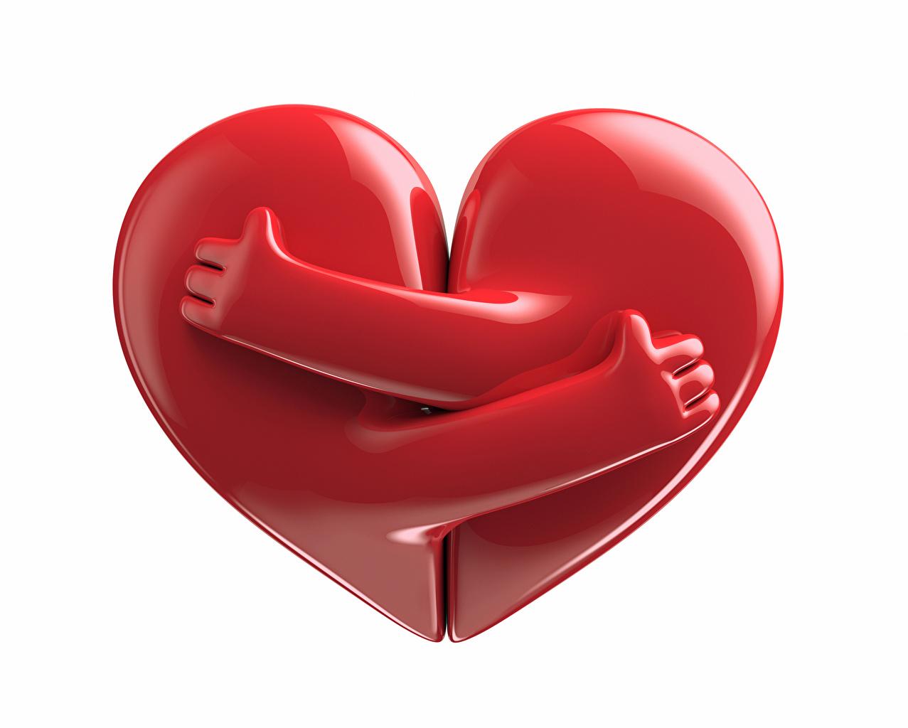 Фотография День святого Валентина Сердце Красный Объятие Руки Белый фон