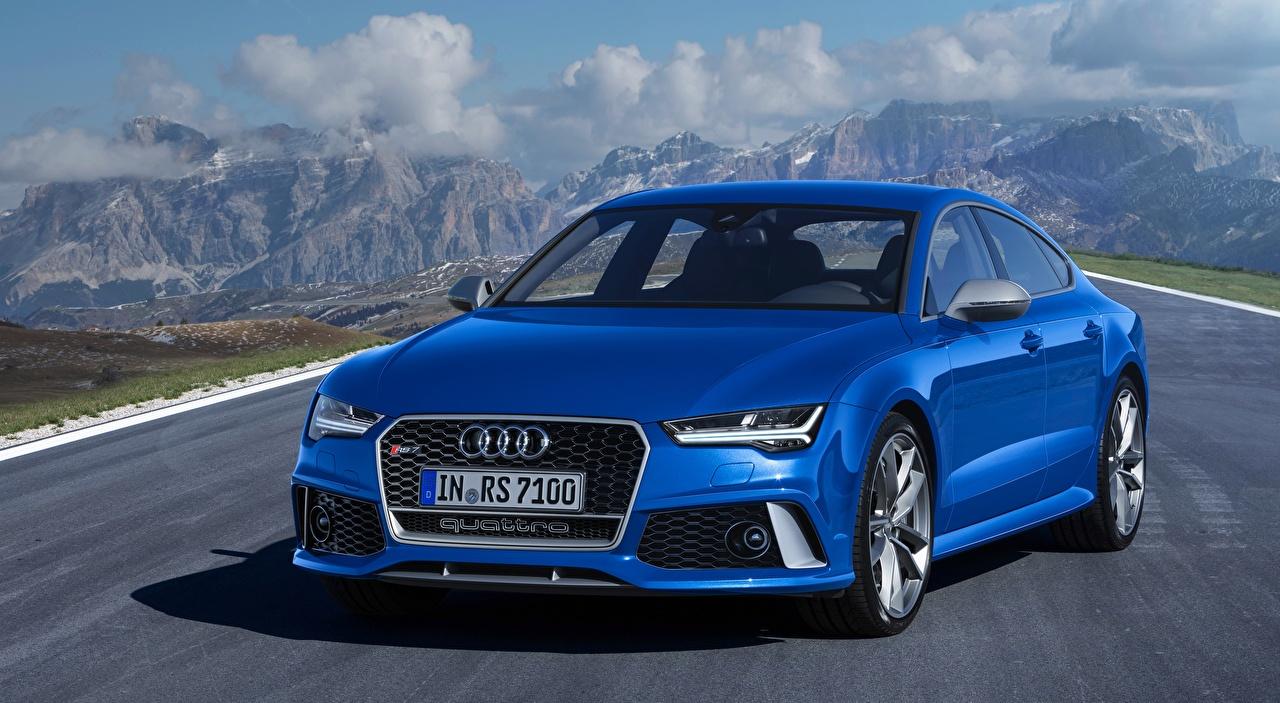 Картинки Ауди RS7, Sportback performance, 2015 синие Спереди Автомобили Audi синяя Синий синих авто машины машина автомобиль