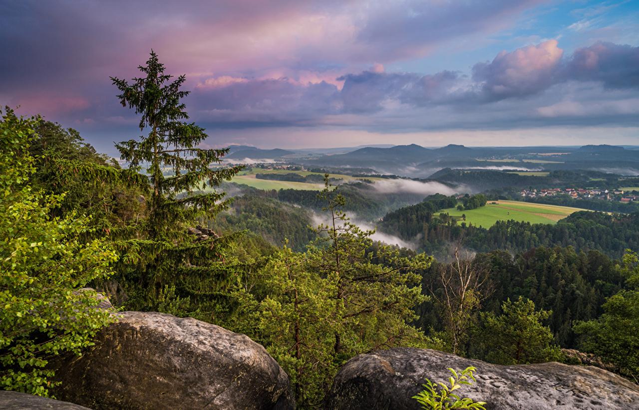 Картинки Германия Saxony Природа Пейзаж Камни дерева облачно Камень дерево Облака облако Деревья деревьев