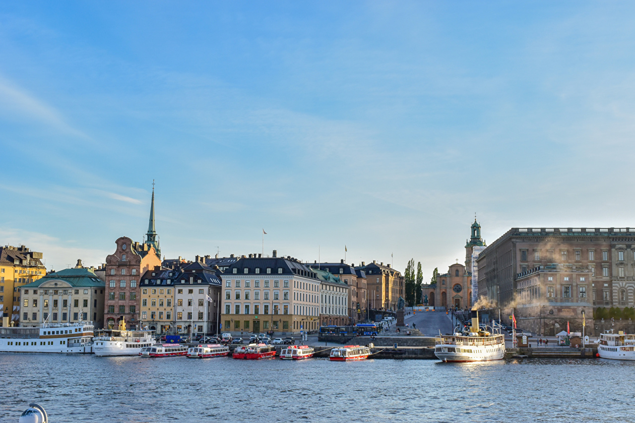 Фото Стокгольм Швеция Корабли заливы Причалы город Здания корабль Залив Пирсы залива Пристань Дома Города