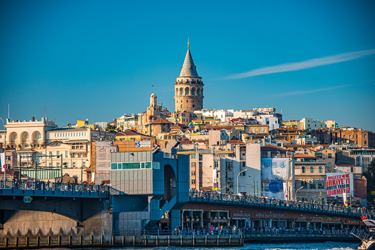 Фотографии Стамбул Турция Башня Galata Tower Здания Города башни Дома город