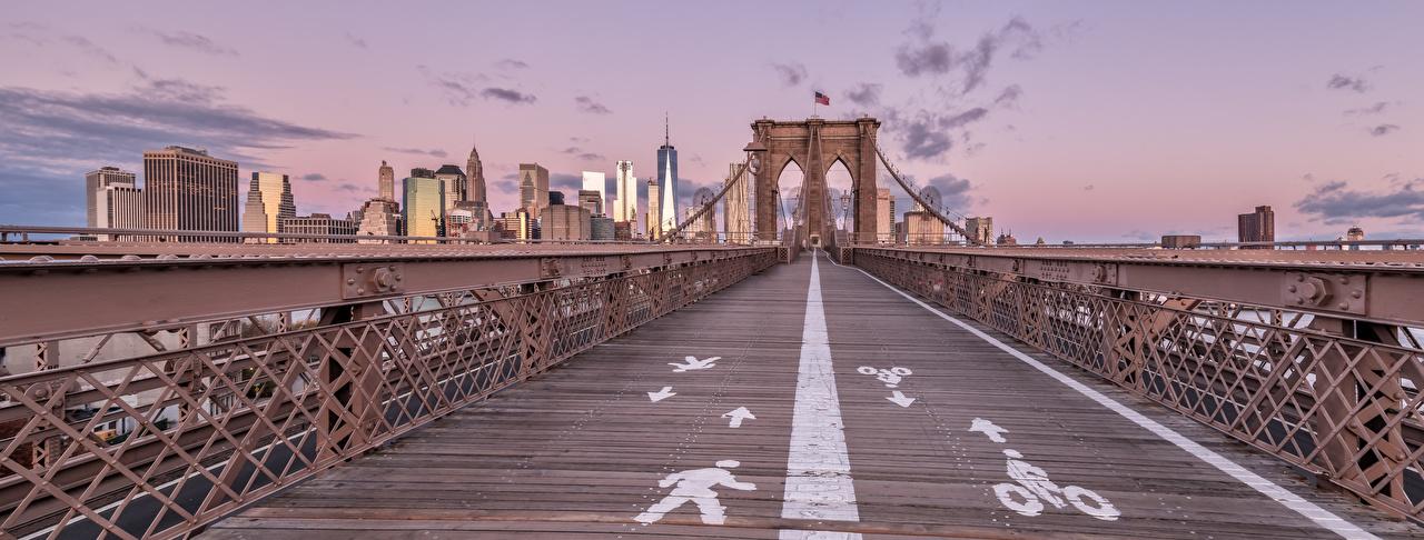 Картинка Города Панорама америка Brooklyn Bridge Мосты Здания Нью-Йорк город панорамная США штаты мост Дома