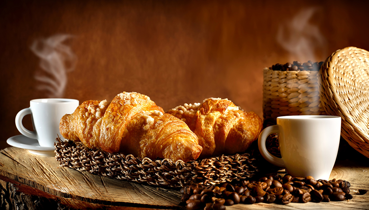 Картинка Кофе Круассан зерно Пища пары Чашка Зерна Еда Пар чашке паром Продукты питания