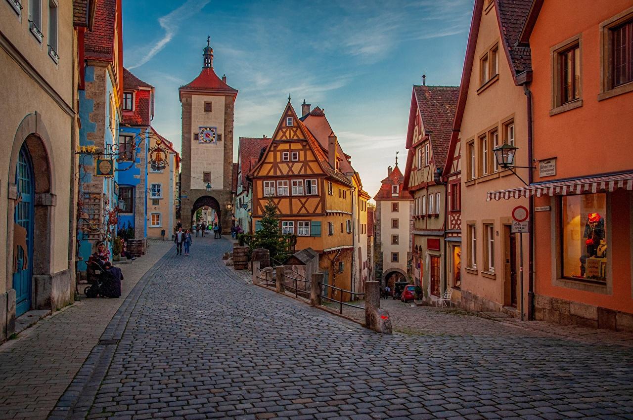 Картинка Бавария Германия Rothenburg улице Дома Города улиц Улица город Здания