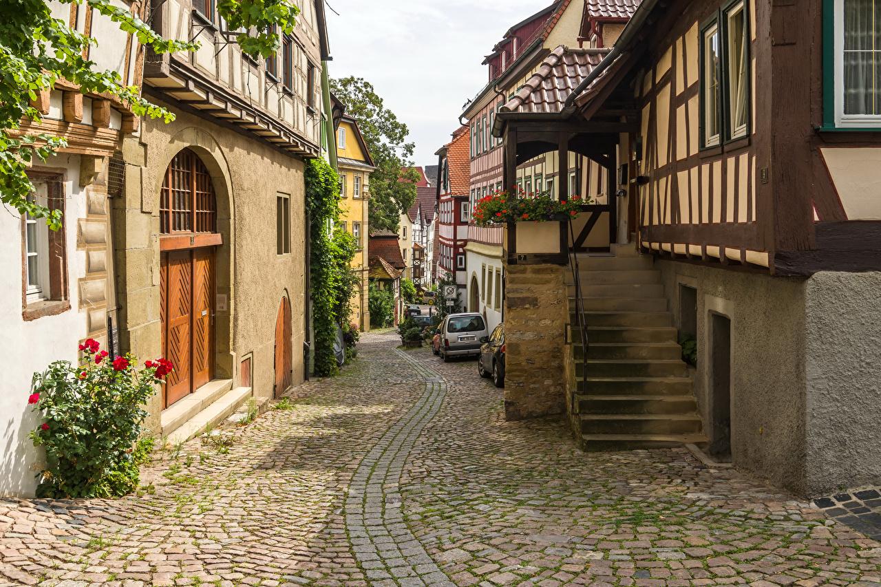 Картинка Германия Bad Wimpfen Лестница Улица Тротуар Дома Города Здания