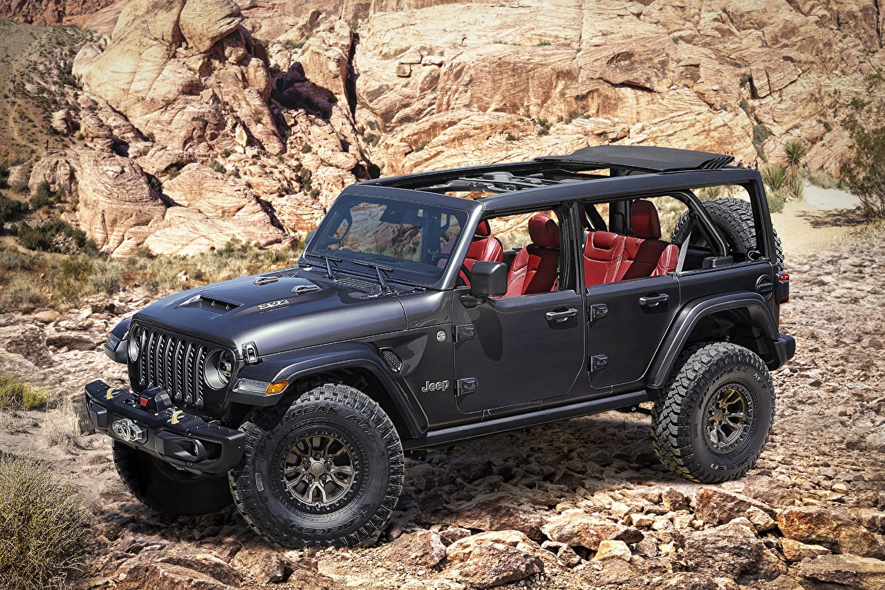 Картинки Jeep SUV 2020 Wrangler Rubicon 392 Concept черных Автомобили Джип Внедорожник черная черные Черный авто машины машина автомобиль