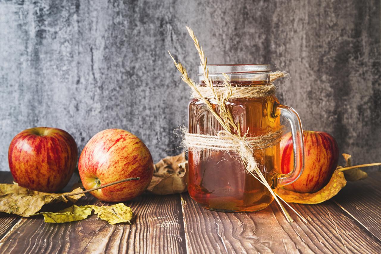 Обои Листья Сок Колос Яблоки Пища Кружка Доски Листва Еда Продукты питания