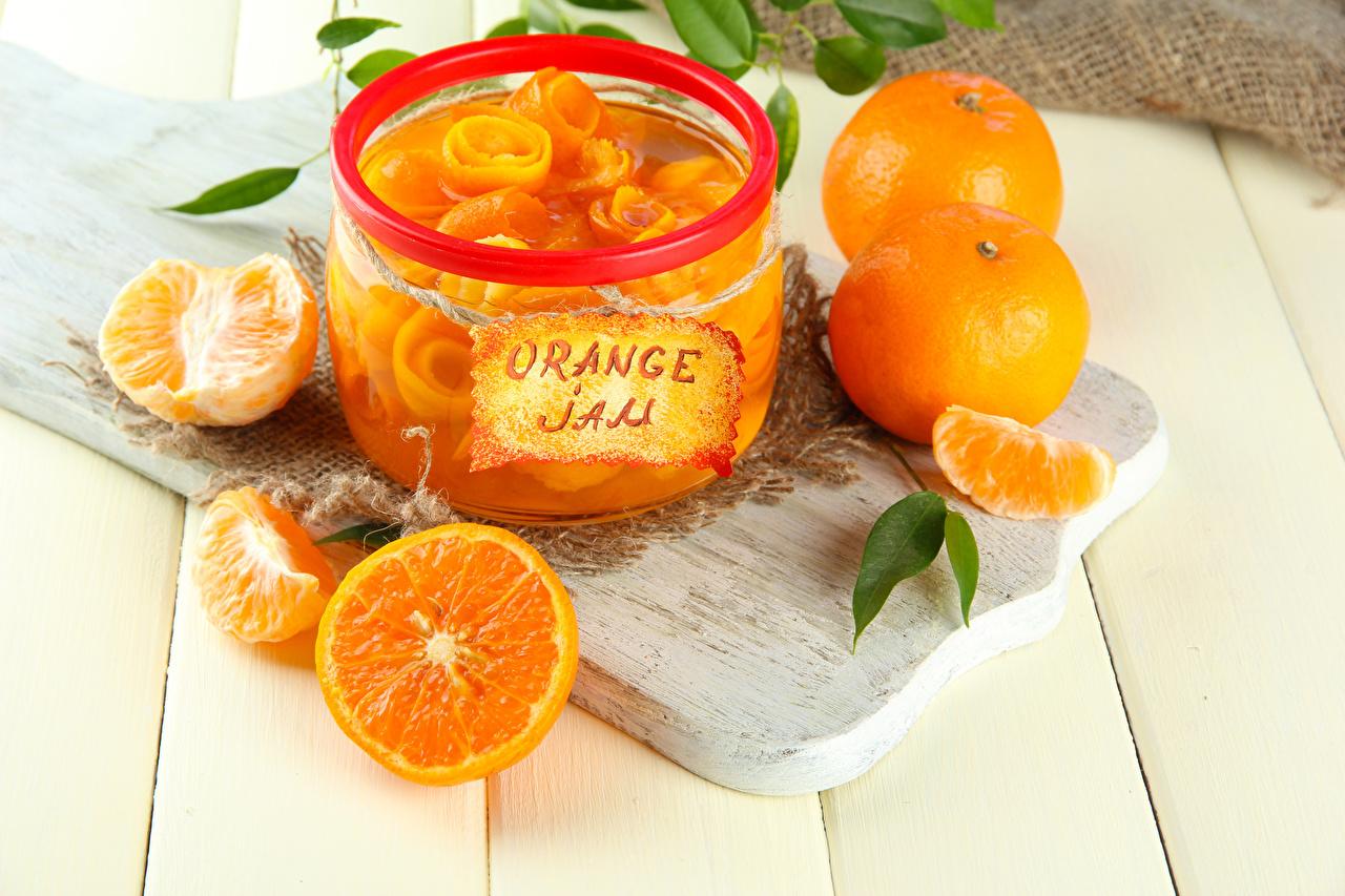 Обои Повидло Апельсин банке Еда Разделочная доска джем Варенье банки Банка Пища Продукты питания