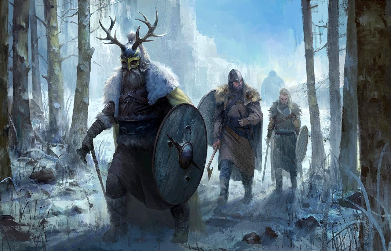 Фотографии с щитом викинг шлема Воители Зима Фэнтези Щит щиты Викинги Шлем воин воины в шлеме зимние Фантастика