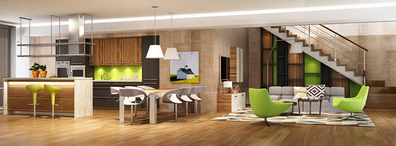 Фотографии Кухня Гостиная 3D Графика Интерьер Диван Стулья Кресло Дизайн