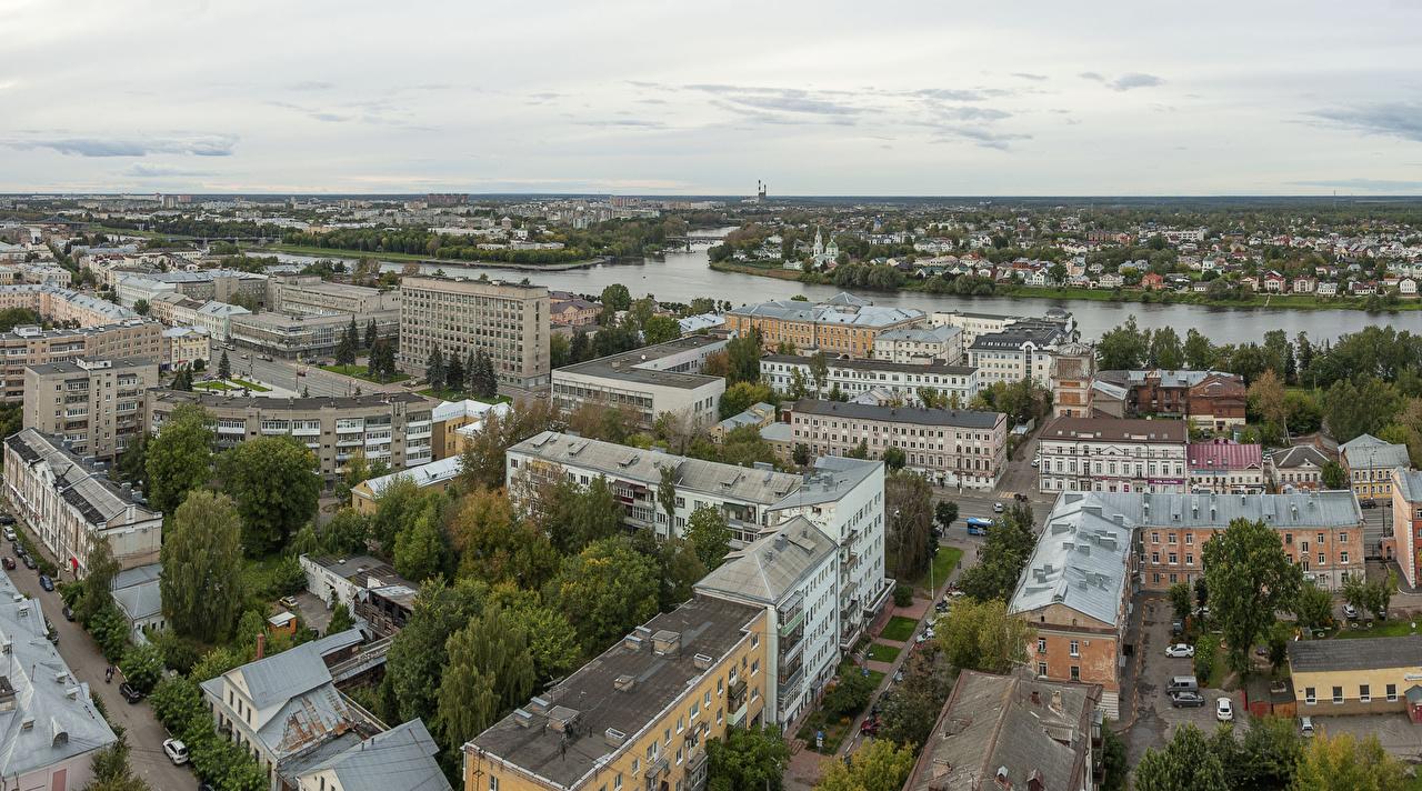 Фотография Россия Tver Реки Сверху Здания Города река речка Дома город