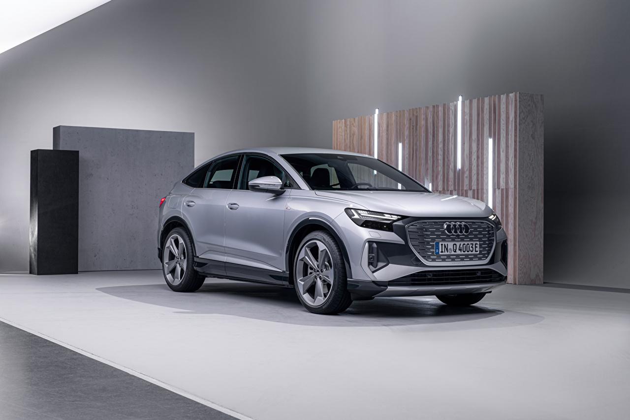 Фотографии Audi CUV Q4 Sportback 50 e-tron S line, Worldwide, 2021 серебряная Металлик Автомобили Ауди Кроссовер серебряный Серебристый серебристая авто машины машина автомобиль