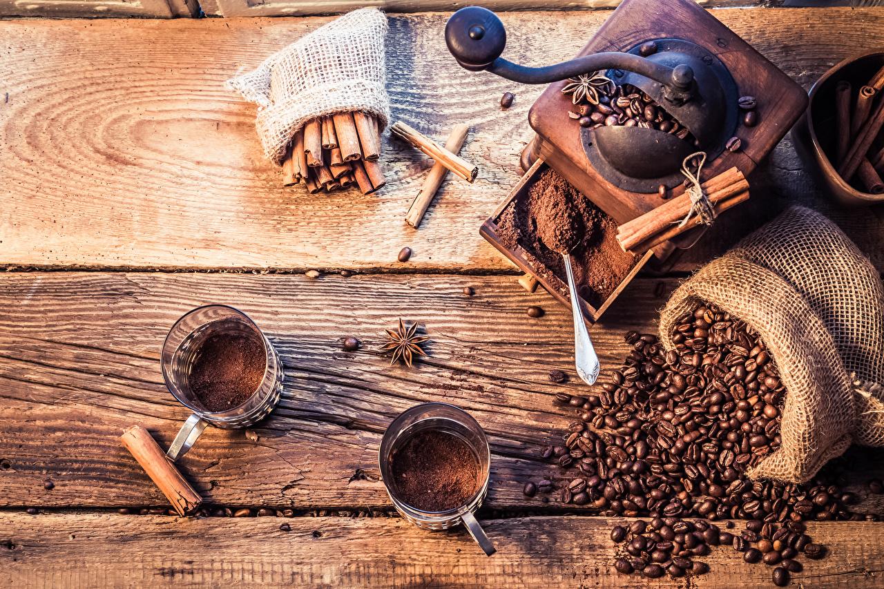 Обои для рабочего стола Еда Кофе Бадьян звезда аниса Чашка Корица зерно Доски Кофемолка Пища Продукты питания чашке Зерна