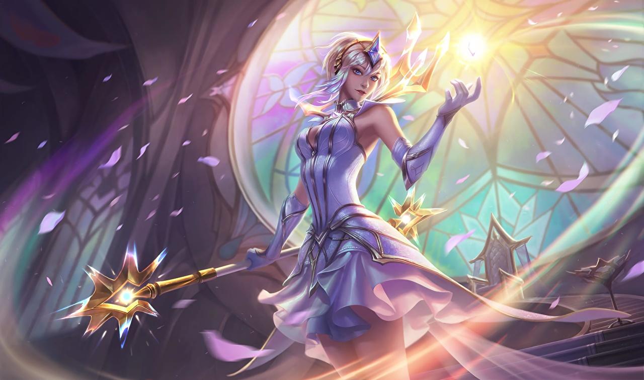 Фотографии LOL Магия Посохи Lux, the Lady of Luminosity Девушки Фэнтези Игры League of Legends волшебство Фантастика