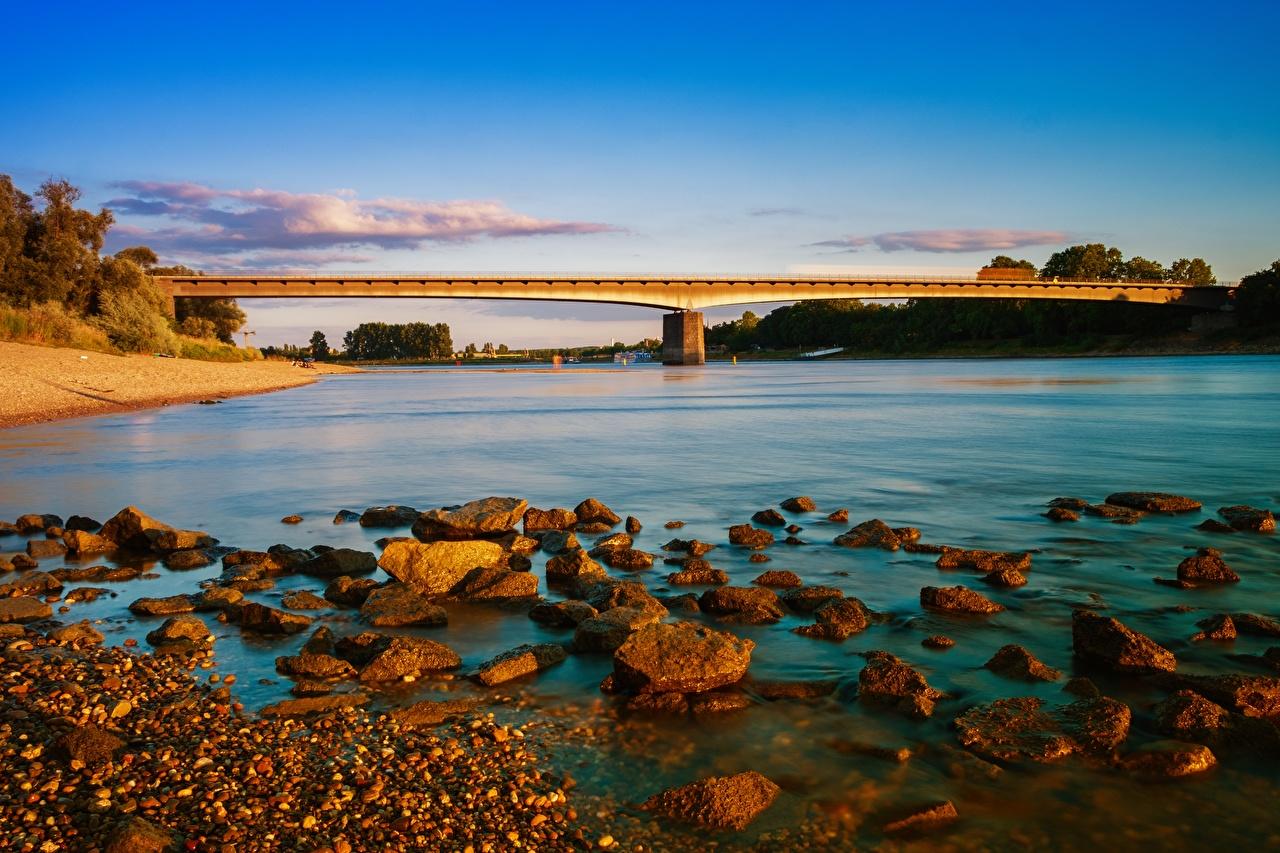 Обои для рабочего стола Германия Rhine Мосты Природа Реки Камни мост река речка Камень