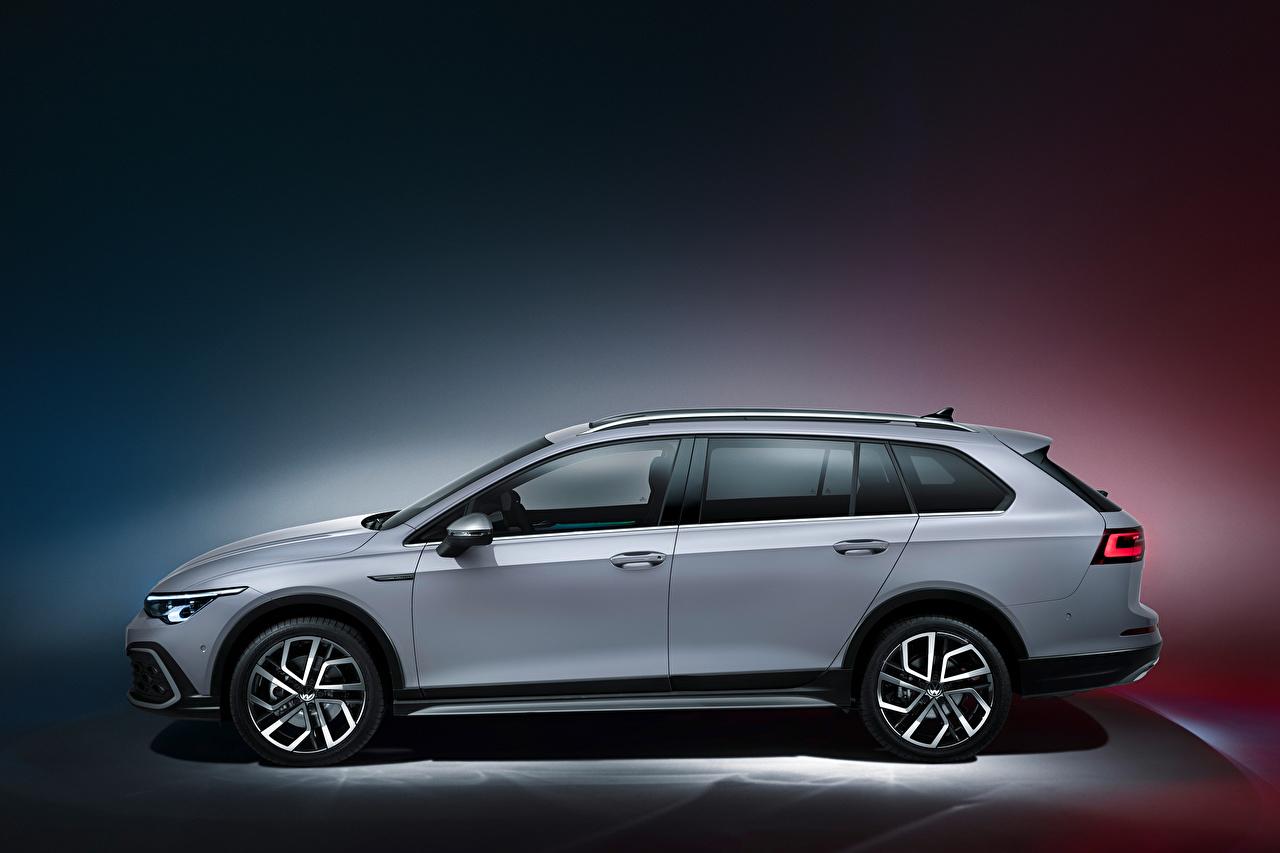 Обои для рабочего стола Фольксваген Универсал Golf Alltrack, 2020 серые Сбоку Металлик автомобиль Volkswagen Серый серая авто машина машины Автомобили