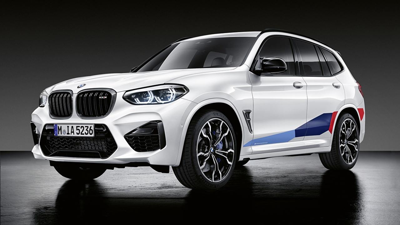 Обои для рабочего стола BMW CUV 2019 X3M M Performance Parts Белый Автомобили БМВ Кроссовер белая белые белых авто машины машина автомобиль