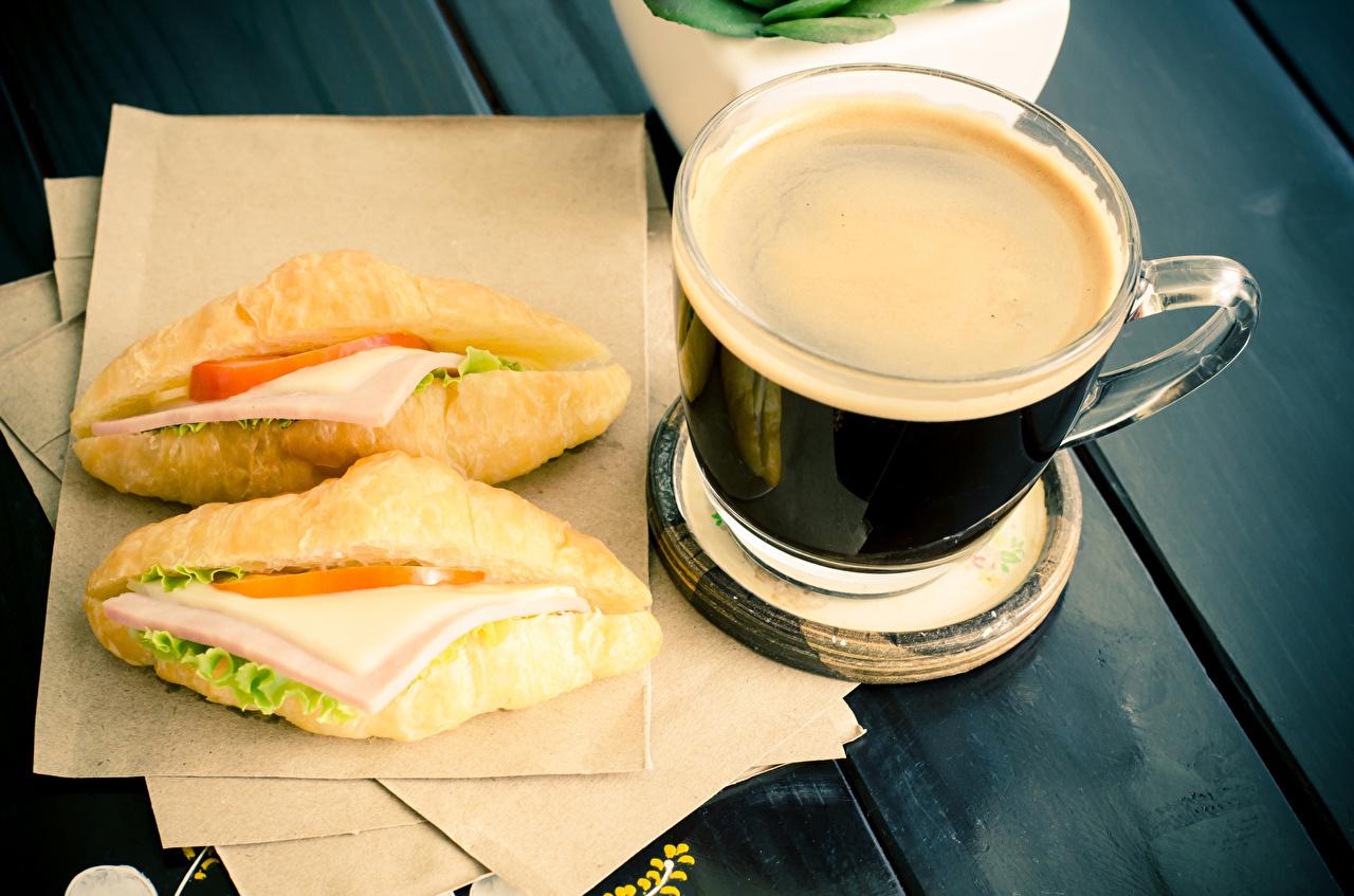 Фото Кофе Завтрак Сэндвич Булочки Фастфуд Еда Чашка Быстрое питание Пища Продукты питания