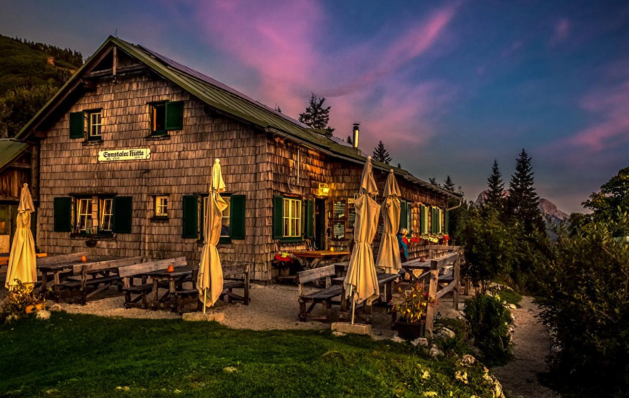 Фото Австрия Gesause National Park Кафе Парки Вечер Скамейка Дома Города Скамья город Здания