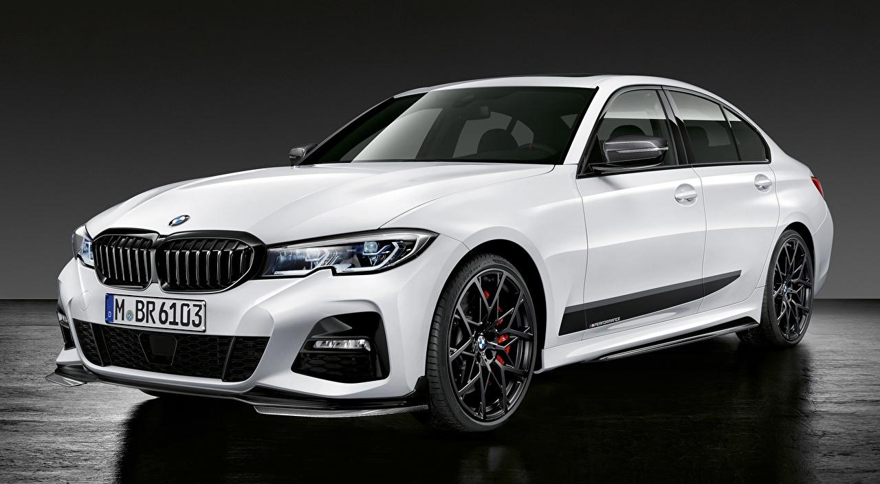 Картинка БМВ Limousine, 3 Series, M Performance Parts, 2019 Белый машины BMW белая белые белых авто машина Автомобили автомобиль
