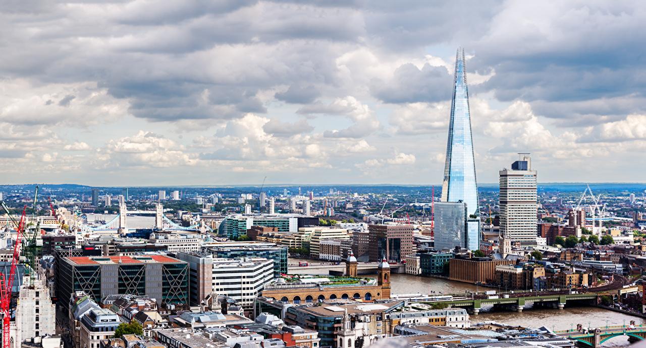 Фотографии Лондон Англия Мегаполис Мосты Города Здания Дома