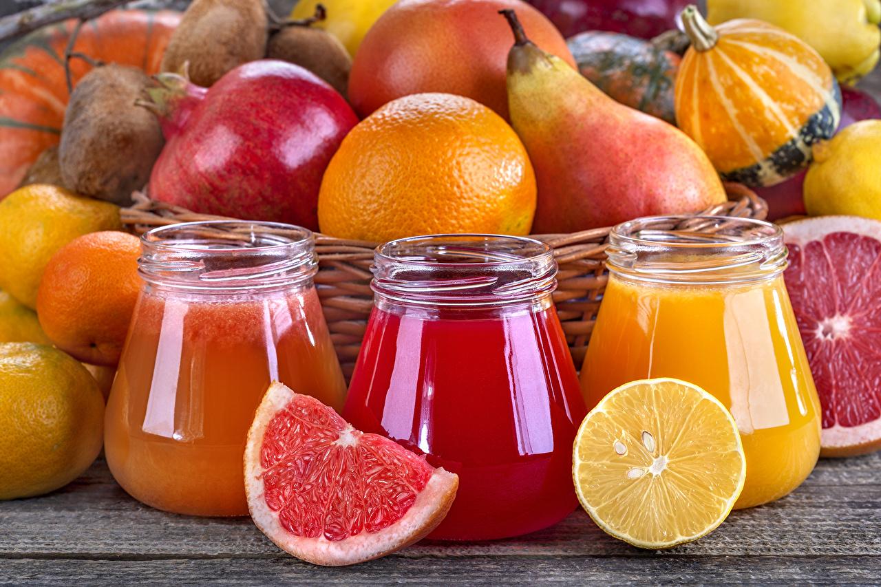 Картинка Сок Грейпфрут банки Груши Гранат Лимоны Пища втроем Цитрусовые Банка банке Еда три Трое 3 Продукты питания