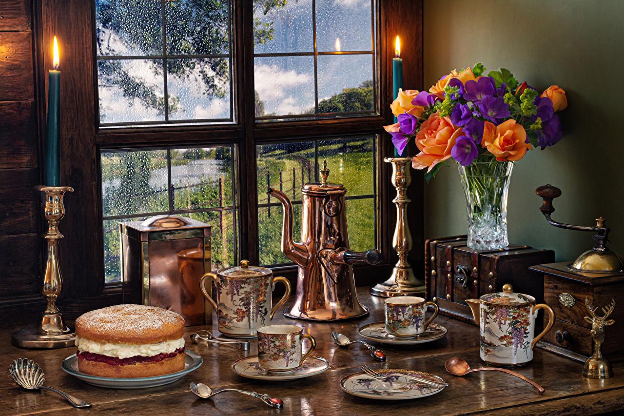 Картинки Букеты Розы Торты Цветы Флоксы цветок Ваза Окно Свечи чашке Ложка Натюрморт букет роза Цветы вазе вазы окна Чашка ложки