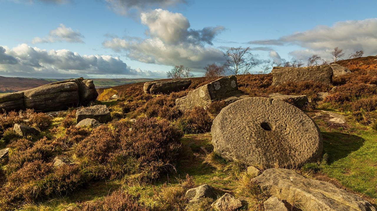 Фото Англия Peak District, Derbyshire Природа Небо Развалины Камни Облака Руины Камень облако облачно