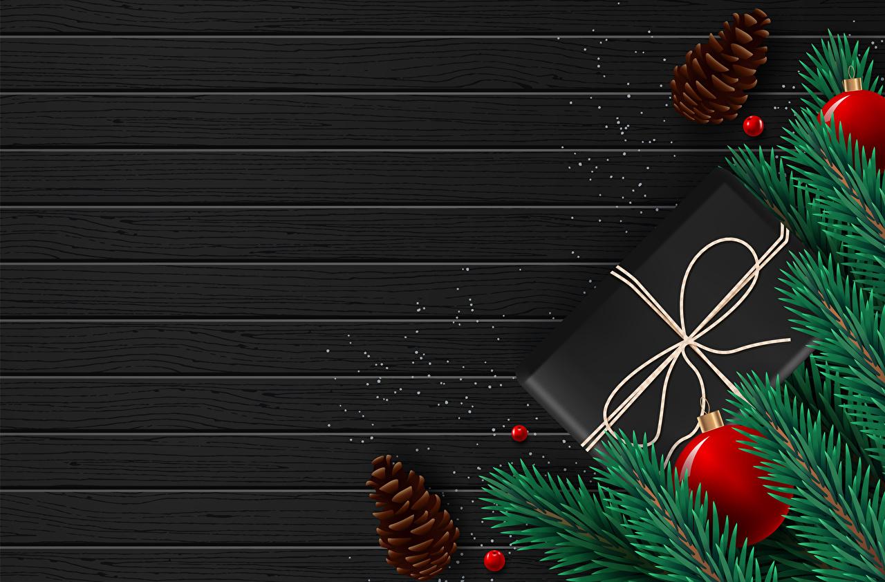 Фото Новый год подарков Шар ветвь шишка Шаблон поздравительной открытки Векторная графика Доски Рождество подарок Подарки Ветки ветка Шишки Шарики на ветке