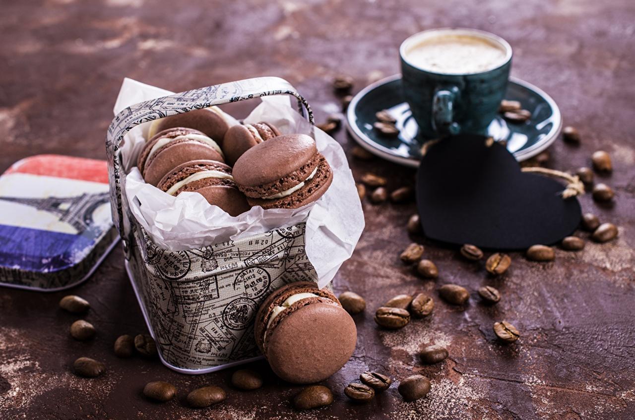 Фотографии Макарон Кофе зерно Еда Печенье Зерна Пища Продукты питания
