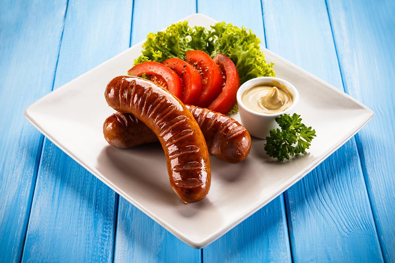 Картинки Сосиска Горчица Еда Овощи тарелке Пища Тарелка Продукты питания