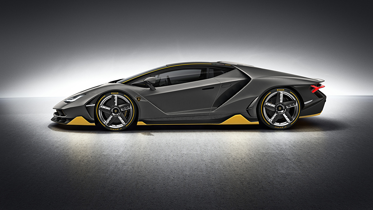 Фотографии Lamborghini Centenario Серый Сбоку Автомобили Ламборгини серые серая Авто Машины
