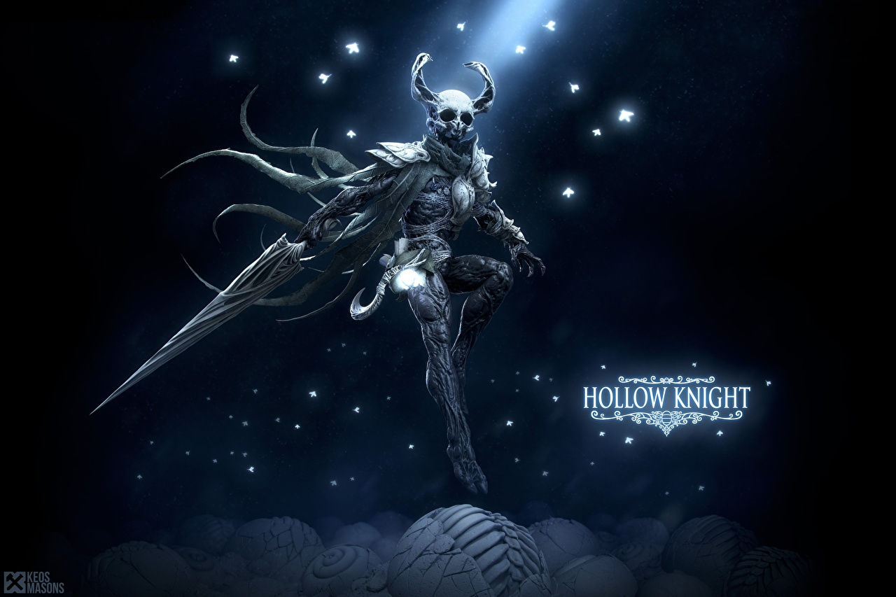 Обои для рабочего стола меча Воители Рога Hollow Knight, Keos Masons Игры меч Мечи с мечом воин воины с рогами компьютерная игра
