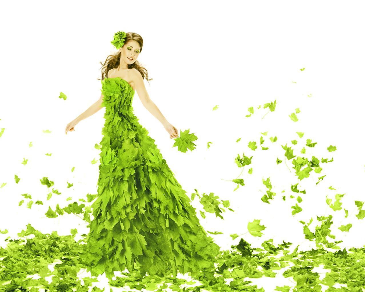 Фото Листья Шатенка Клён Девушки Салатовый Белый фон Платье Листва