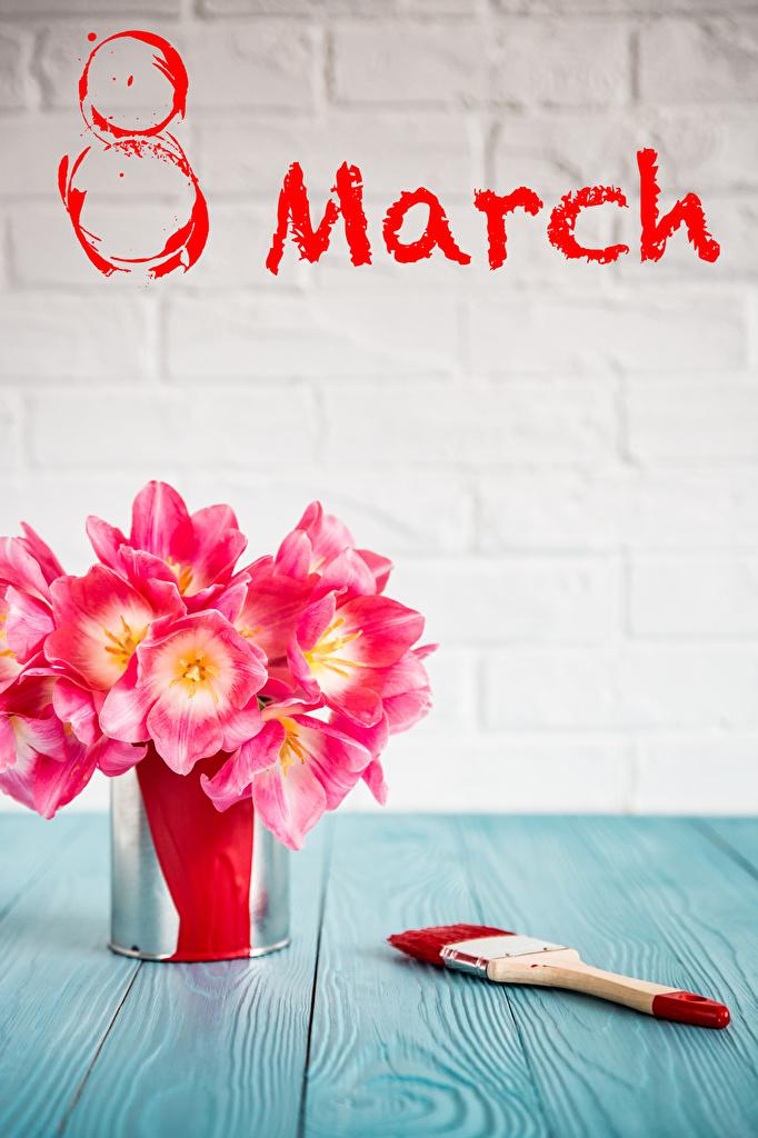 Фотография 8 марта английская розовая Тюльпаны Цветы Праздники Доски  для мобильного телефона Международный женский день инглийские Английский розовых розовые Розовый тюльпан цветок
