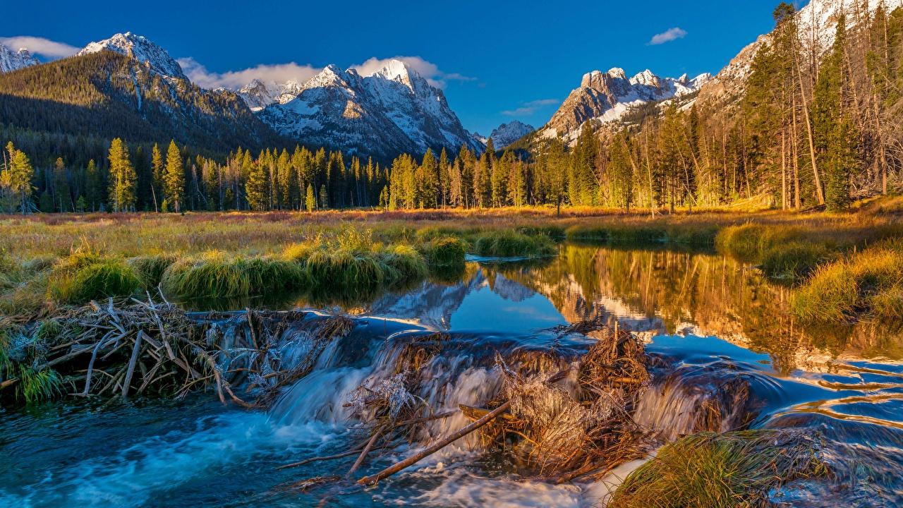 Фотография США плотине Sawtooth National Forest Горы Природа лес Пейзаж река штаты америка Плотина плотины гора Леса Реки речка