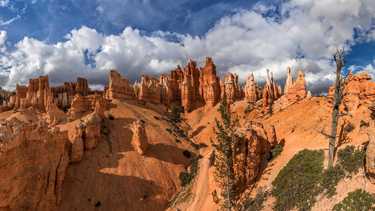 Картинки штаты Bryce Canyon, Utah Скала Природа парк Облака США америка Утес скале скалы Парки облако облачно