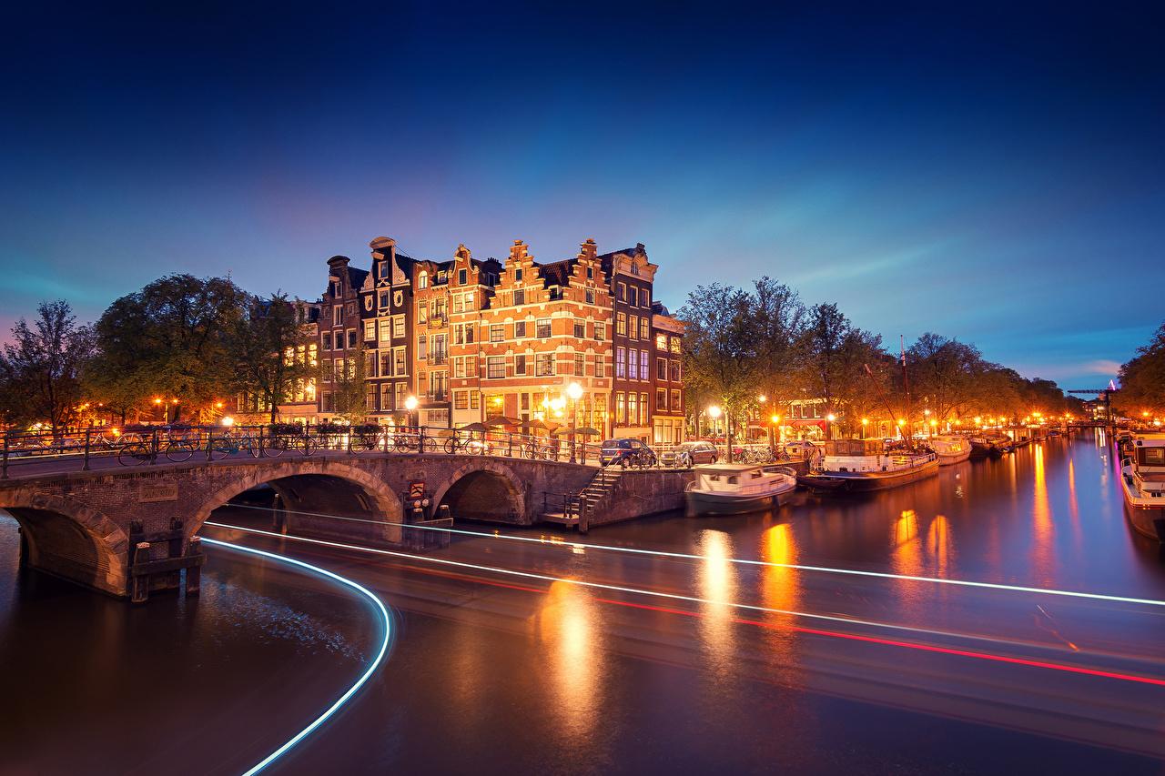 Фотография Амстердам голландия Noord-Holland Мосты Реки ночью Города Нидерланды мост река Ночь речка в ночи Ночные город