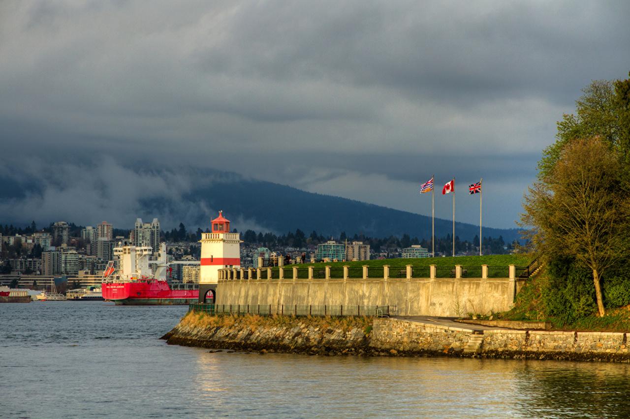 Фотография Ванкувер Канада Stanley Park Маяки Залив Пирсы Города Здания Причалы Пристань Дома