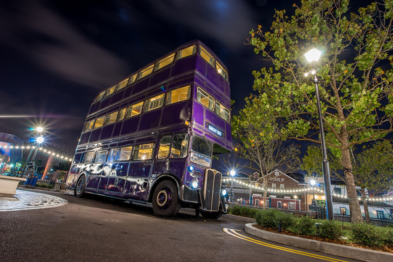 Обои Автобус Анахайм Калифорния Диснейленд штаты HDR Парки Ночь Уличные фонари Города Дизайн США HDRI Ночные