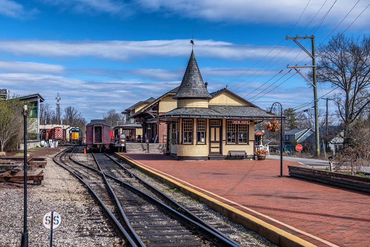 Картинка Пенсильвания штаты рельсах New Hope Station Железные дороги Города США америка Рельсы город