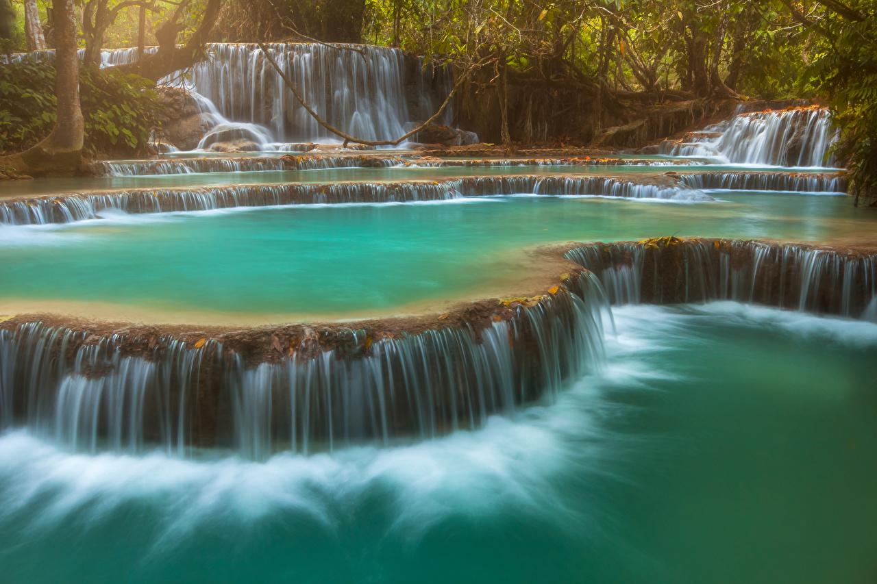Фотография Kuang Si Falls Laos Скала Природа Водопады Утес скалы скале