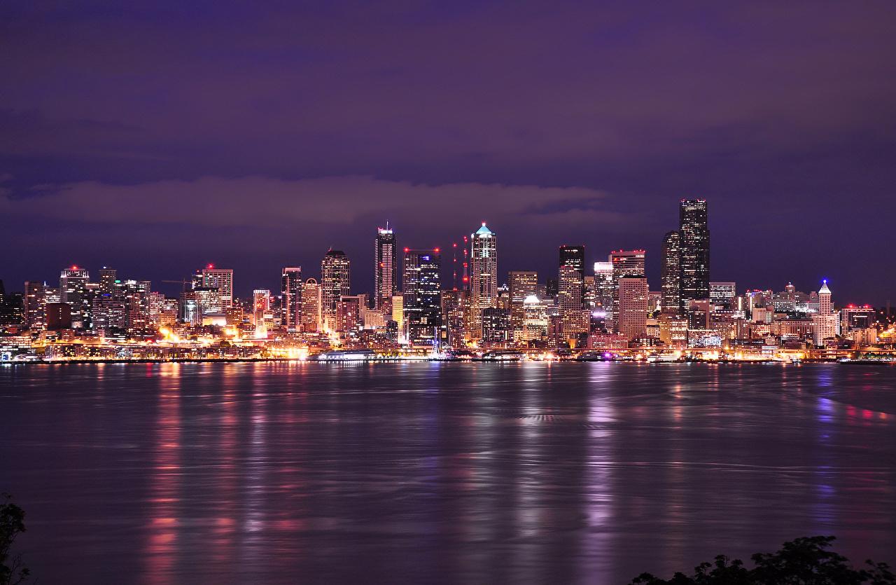 Фотография Сиэтл США Washington воде Ночные Побережье Небоскребы Дома город штаты америка Ночь Вода берег ночью в ночи Здания Города