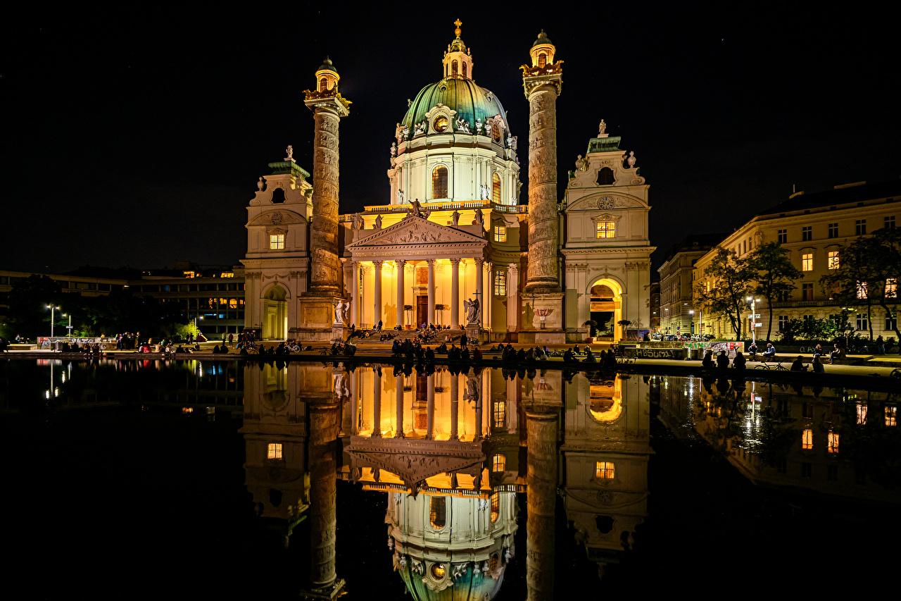 Фотографии Вена Церковь Австрия Karlskirche Пруд отражается Храмы ночью Города отражении Отражение храм Ночь в ночи Ночные город
