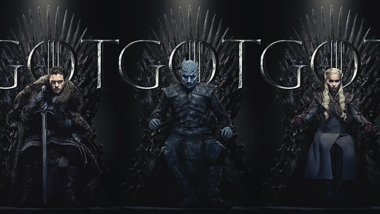 Картинка Игра престолов (телесериал) 8 кино Трое 3 сидящие Фильмы три сидя Сидит втроем